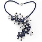 青金石珍珠水晶项链 珠链编花款