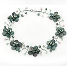 绿龙血石珍珠水晶项链 编花款