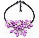 紫色珍珠贝壳花项链