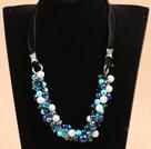 蓝黑色系水晶贝壳珠项链