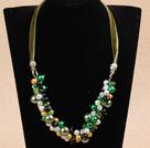 黄绿色系水晶贝壳珠项链