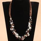 棕色系水晶贝壳珠项链