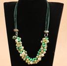 绿色系水晶贝壳珠项链