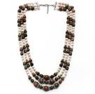 花绿石 白珍珠项链 多层多圈款式 可调节