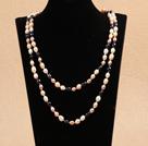 7-8mm白粉紫黑珍珠长款项链