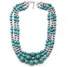灰珍珠 绿松石项链 多层多圈款式 可调节