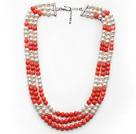 白珍珠 粉珊瑚项链 多层多圈款式 可调节