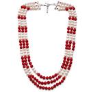 白珍珠 红珊瑚项链 多层多圈款 可调节