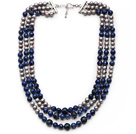 青金石 灰珍珠项链 多层多圈款式