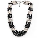 黑玛瑙 白珍珠项链 多层多圈款式