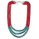 红珊瑚 绿松石项链 多层多圈款式