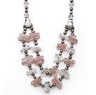灰色珍珠 异形粉晶 白水晶项链