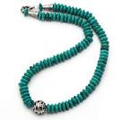 新疆绿松石项链 算盘珠款式 配合金扣 镂空圆珠