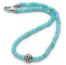 蓝彩玉项链 配合金扣镂空圆珠 简约单层叠珠款