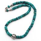 天然绿松石项链 算盘珠款式 配合金扣 镂空圆珠