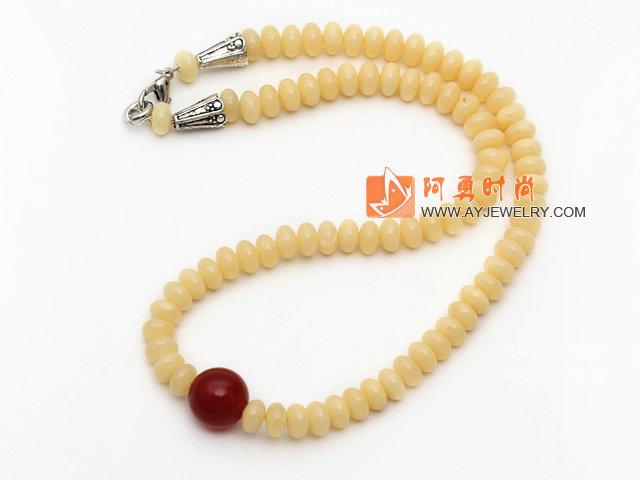 合成黄色蜜蜡项链 配合金扣 简约单层叠珠款