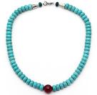 松石项链 算盘珠款式 配红玛瑙 凤凰石 合金扣 镂空圆珠