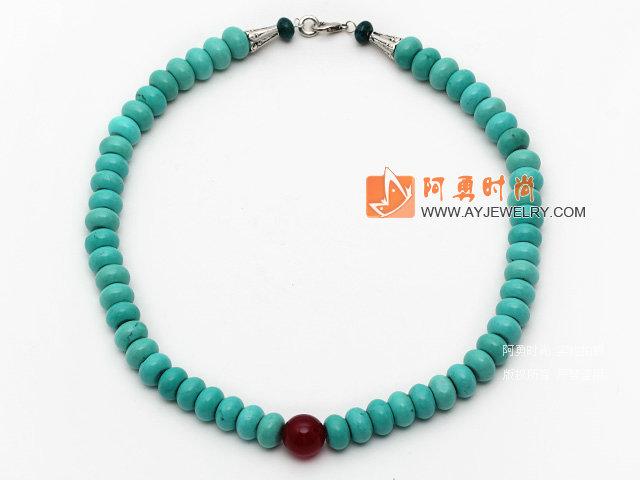 新疆松石项链 算盘珠款式 配红玛瑙 凤凰石 合金扣 镂空圆珠