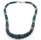 非洲松石项链 算盘珠款式 配合金扣 镂空圆珠