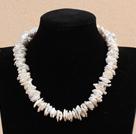 白色再生珍珠项链 配磁力扣
