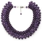 紫水晶项链 从大到小渐变 可调节 多层款