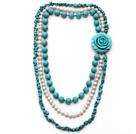 白珍珠 绿松石项链 多层多圈款式