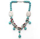 白珍珠绿松石红珊瑚项链 配合金扣 唯美款