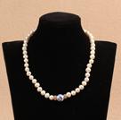 白珍珠青花瓷项链