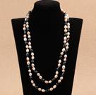 7-8mm白紫黑珍珠长款项链