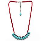 红珊瑚 松石项链 可调节 珠链吊坠款