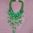 绿色系多层水晶花朵夸张项链
