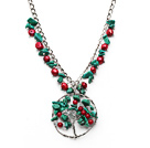 松石白水晶红珊瑚项链 可调节款式 合金链款