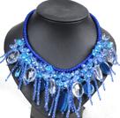 水晶蓝玛瑙绳结项链
