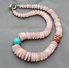粉水晶绿松石项链 配金属镂空圆球 叠珠款