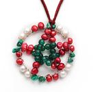 圣诞节款 珍珠 玛瑙 松石项链 配棕红色皮绳