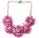 白珍珠 白水晶 粉色贝壳花项链