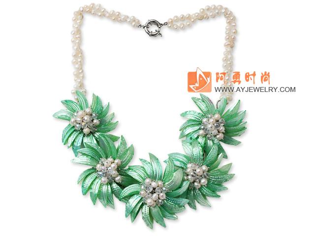 白珍珠 白水晶 绿色贝壳花项链
