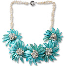 白珍珠 白水晶 蓝色贝壳花项链