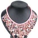 粉色珍珠水晶绳结项链