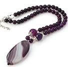 切面紫玛瑙项链 配紫玛瑙吊坠 长度可调节 珠链吊坠款