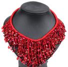 红色水晶绳结项链
