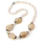 天然白珍珠 玛瑙项链 配合金珠帽