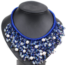 珍珠玉料水晶蓝色系项链