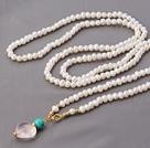 珍珠项链 配松石 芙蓉石吊坠 长款项链