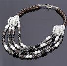 茶晶 黑玛瑙 白瓷石 白贝壳项链 配合金扣 四层款