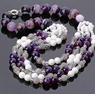 人造水晶 玛瑙 白瓷石项链 四层款
