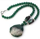 绿玛瑙项链 配玛瑙吊坠 珠链吊坠款