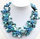 蓝色系9朵贝壳花皮绳项链
