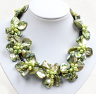 绿色系9朵贝壳花皮绳项链