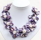 紫色系9朵贝壳花皮绳项链